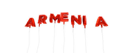 ARMENIA - word made from red foil balloons - 3D rendered.  Can be used for an online banner ad or a print postcard. Stock Photo