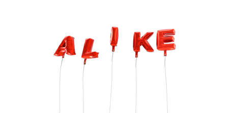 ALIKE - word made from red foil balloons - 3D rendered.  Can be used for an online banner ad or a print postcard.