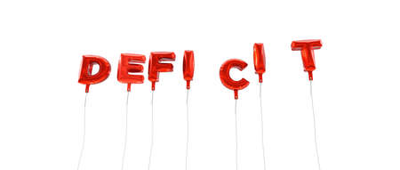 deficit: DEFICIT - word made from red foil balloons - 3D rendered.  Can be used for an online banner ad or a print postcard. Stock Photo