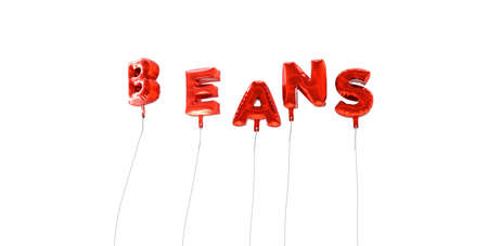 BEANS - word made from red foil balloons - 3D rendered.  Can be used for an online banner ad or a print postcard.