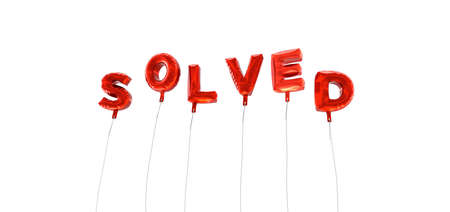 solved: SOLVED - word made from red foil balloons - 3D rendered.  Can be used for an online banner ad or a print postcard.