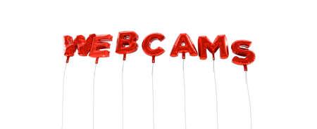 - Cámaras de palabra hecha de globos de la hoja de color rojo - 3D prestados. Puede ser utilizado para un banner publicitario en línea o una postal de impresión. Foto de archivo - 65680646
