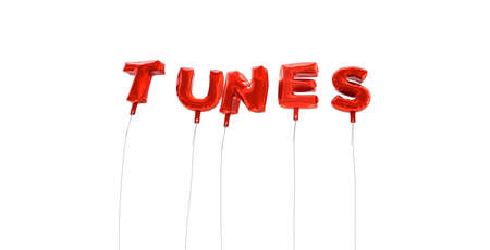 tunes: TUNES - word made from red foil balloons - 3D rendered.  Can be used for an online banner ad or a print postcard.