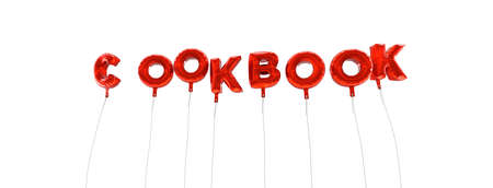 COOKBOOK - word made from red foil balloons - 3D rendered.  Can be used for an online banner ad or a print postcard.