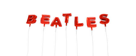 BEATLES - word made from red foil balloons - 3D rendered.  Can be used for an online banner ad or a print postcard.