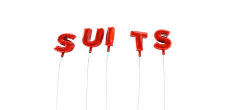 SUITS - word made from red foil balloons - 3D rendered.  Can be used for an online banner ad or a print postcard. Stock Photo