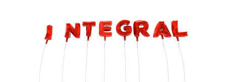 integral: INTEGRAL - word made from red foil balloons - 3D rendered.  Can be used for an online banner ad or a print postcard. Stock Photo