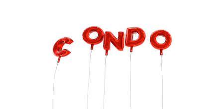 condo: CONDO - word made from red foil balloons - 3D rendered.  Can be used for an online banner ad or a print postcard.