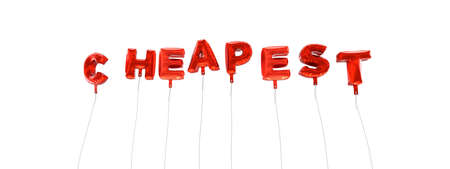 cheapest: CHEAPEST - word made from red foil balloons - 3D rendered.  Can be used for an online banner ad or a print postcard.