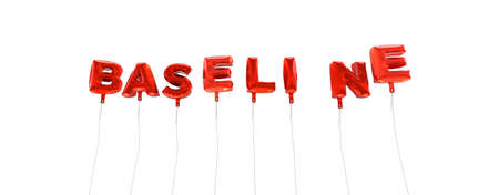 BASELINE - word made from red foil balloons - 3D rendered.  Can be used for an online banner ad or a print postcard.