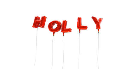 HOLLY - word made from red foil balloons - 3D rendered.  Can be used for an online banner ad or a print postcard. Stock Photo