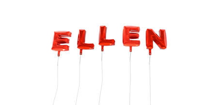 ELLEN - word made from red foil balloons - 3D rendered.  Can be used for an online banner ad or a print postcard.
