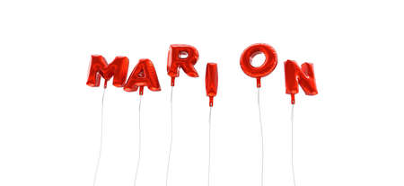 MARION - word made from red foil balloons - 3D rendered.  Can be used for an online banner ad or a print postcard. Stock Photo