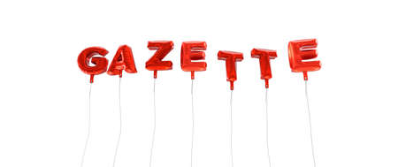 GAZETTE - word made from red foil balloons - 3D rendered.  Can be used for an online banner ad or a print postcard.
