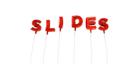 SLIDES - word made from red foil balloons - 3D rendered.  Can be used for an online banner ad or a print postcard.