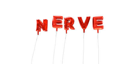 nerve message: NERVE - word made from red foil balloons - 3D rendered.  Can be used for an online banner ad or a print postcard. Stock Photo