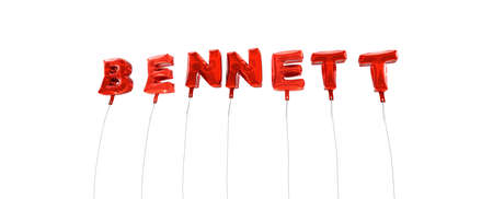 BENNETT - word made from red foil balloons - 3D rendered.  Can be used for an online banner ad or a print postcard.