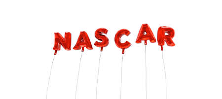NASCAR - word made from red foil balloons - 3D rendered.  Can be used for an online banner ad or a print postcard. Editorial