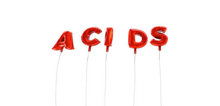acids: ACIDS - word made from red foil balloons - 3D rendered.  Can be used for an online banner ad or a print postcard.