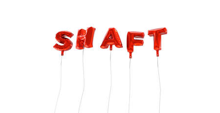 SHAFT - word made from red foil balloons - 3D rendered.  Can be used for an online banner ad or a print postcard. Reklamní fotografie - 65681234
