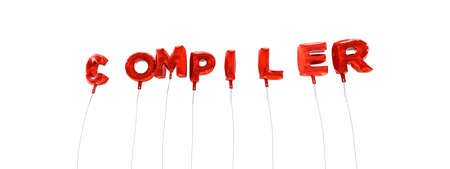 compiler: COMPILER - word made from red foil balloons - 3D rendered.  Can be used for an online banner ad or a print postcard. Stock Photo
