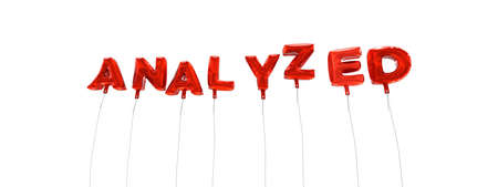 analyzed: ANALYZED - word made from red foil balloons - 3D rendered.  Can be used for an online banner ad or a print postcard.