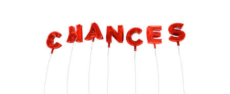 single word: CHANCES - word made from red foil balloons - 3D rendered.  Can be used for an online banner ad or a print postcard.