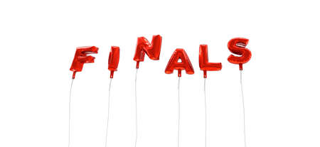 finals: FINALS - word made from red foil balloons - 3D rendered.  Can be used for an online banner ad or a print postcard. Stock Photo
