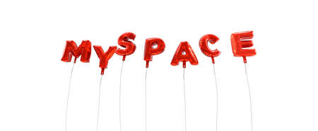 myspace: MYSPACE - word made from red foil balloons - 3D rendered.  Can be used for an online banner ad or a print postcard.