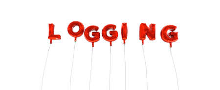 logging: LOGGING - word made from red foil balloons - 3D rendered.  Can be used for an online banner ad or a print postcard.