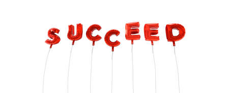 succeed: SUCCEED - word made from red foil balloons - 3D rendered.  Can be used for an online banner ad or a print postcard. Stock Photo