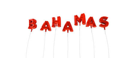 bahamas celebration: BAHAMAS - word made from red foil balloons - 3D rendered.  Can be used for an online banner ad or a print postcard.
