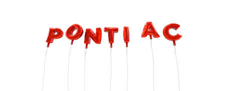 PONTIAC - word made from red foil balloons - 3D rendered.  Can be used for an online banner ad or a print postcard.