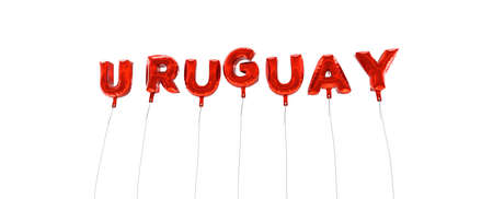 URUGUAY - word made from red foil balloons - 3D rendered.  Can be used for an online banner ad or a print postcard.