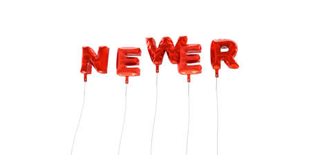 newer: NEWER - word made from red foil balloons - 3D rendered.  Can be used for an online banner ad or a print postcard.