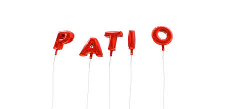 patio: PATIO - word made from red foil balloons - 3D rendered.  Can be used for an online banner ad or a print postcard.