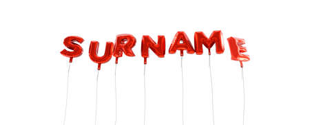 SURNAME - word made from red foil balloons - 3D rendered.  Can be used for an online banner ad or a print postcard.