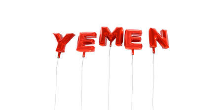 yemen: YEMEN - word made from red foil balloons - 3D rendered.  Can be used for an online banner ad or a print postcard.