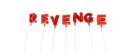 venganza: REVENGE - word made from red foil balloons - 3D rendered.  Can be used for an online banner ad or a print postcard. Foto de archivo