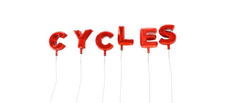 cycles: CYCLES - word made from red foil balloons - 3D rendered.  Can be used for an online banner ad or a print postcard.