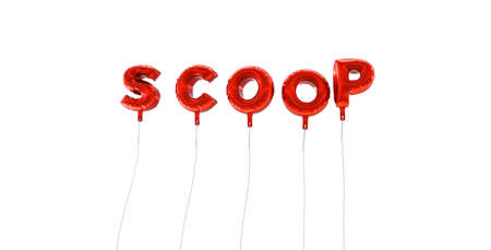 SCOOP - word made from red foil balloons - 3D rendered.  Can be used for an online banner ad or a print postcard. Reklamní fotografie - 65680073