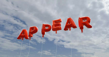 appear: APPEAR - red foil balloons on blue sky - 3D rendered royalty free stock picture. This image can be used for an online website banner ad or a print postcard. Stock Photo