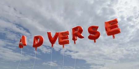 adverse: ADVERSE - red foil balloons on blue sky - 3D rendered royalty free stock picture. This image can be used for an online website banner ad or a print postcard.