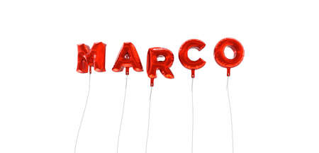 marco: MARCO - word made from red foil balloons - 3D rendered.  Can be used for an online banner ad or a print postcard. Stock Photo