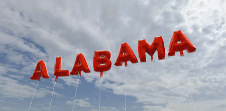 ALABAMA - red foil balloons on blue sky - 3D rendered royalty free stock picture. This image can be used for an online website banner ad or a print postcard. Stock Photo