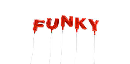 FUNKY - word made from red foil balloons - 3D rendered.  Can be used for an online banner ad or a print postcard. Stock Photo