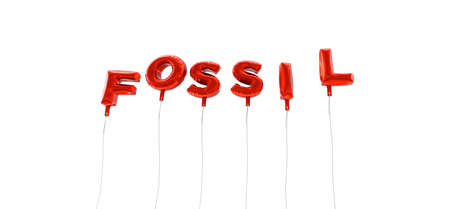 fossil: FOSSIL - word made from red foil balloons - 3D rendered.  Can be used for an online banner ad or a print postcard.