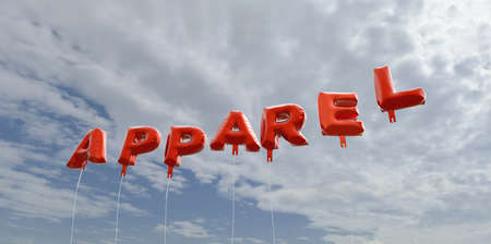 APPAREL - red foil balloons on blue sky - 3D rendered royalty free stock picture. This image can be used for an online website banner ad or a print postcard.