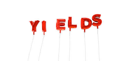 YIELDS - word made from red foil balloons - 3D rendered.  Can be used for an online banner ad or a print postcard.