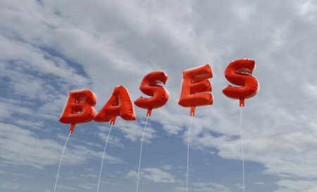 bases: BASES - red foil balloons on blue sky - 3D rendered royalty free stock picture. This image can be used for an online website banner ad or a print postcard. Stock Photo